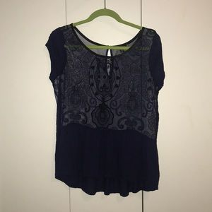 Navy and black semi-sheer peplum top
